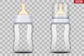 Set eith Baby bottles with nipple pacifier with cap. Sterile milk container. Vector Illustration Isolated on white background. poster