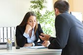 Bad salesman trying to convince to a bored client in her office or businessman in a job interview poster