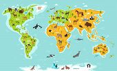 World map with wildlife animals vector. Animals planet concept, world with flora and fauna. Animals map. Giraffe, elephant, zebra, bear, turtle, whale, penguin, lynx, panda. Cartoon animals collection. Different animals for zoo poster poster