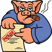 Pig Debt Collector or Creditor with Past Due Statement Cartoon Illustration poster