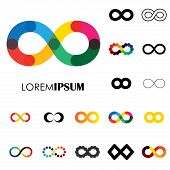 collection of infinity symbols - vector logo icons. this set of signs can also represent concept of continuum boundless and limitless illusion of perpetuity being unlimited poster