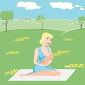 Illustration mother is breastfeeding the baby in the flat style. Vector eps 10 poster