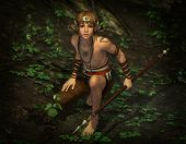 3d computer graphics of a male elf on hunting with a spear poster