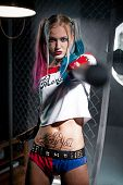 Girl in costume Harley. She stands with a bat. Cosplay poster