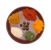 many different spices in plate poster