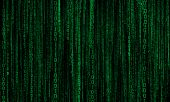cyberspace with green digital lines, binary hanging chain, abstract background poster