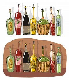 Wine cellar with beeswing. Color bottle .