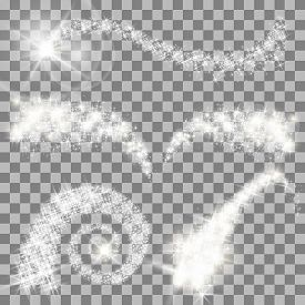Vector magical glitter stars set on transparent background