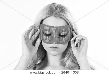 Woman On Mysterious Face Play Role Game, Visit Masquerade. Girl With Long Blonde Hair Wears Mask. La