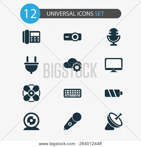 Electronics Icons Set With Mic, Cloudtech, Telephone And Other Plug Elements. Isolated Vector Illust