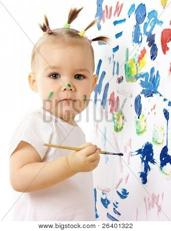 Little girl paint on a white board, isolated over white