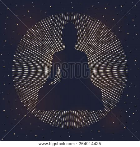 Abstract Circle Dashed Line Made Buddha Sign On Dark Night Sky And Star Vector Design