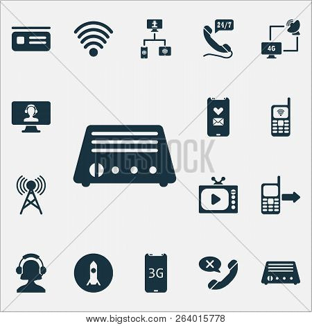 Communication Icons Set With Tv, Communication Tower, Operator Girl And Other Reject Elements. Isola