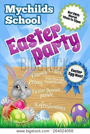 Cartoon Easter Wooden Sign Party Invite. White Easter Bunny With A Basket Full Of Decorated Chocolat