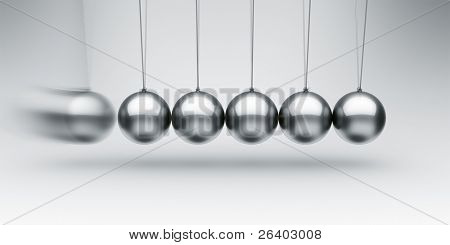 3d rendering of a Newtons cradle with one ball about to impact