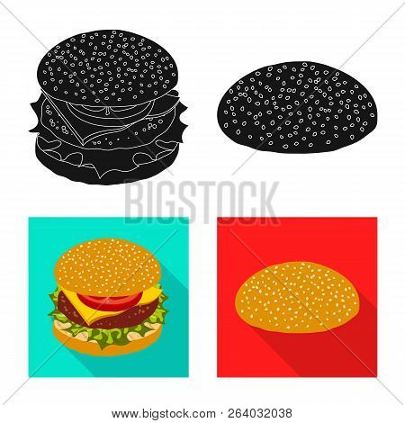 Vector Design Of Burger And Sandwich Icon. Set Of Burger And Slice Stock Symbol For Web.