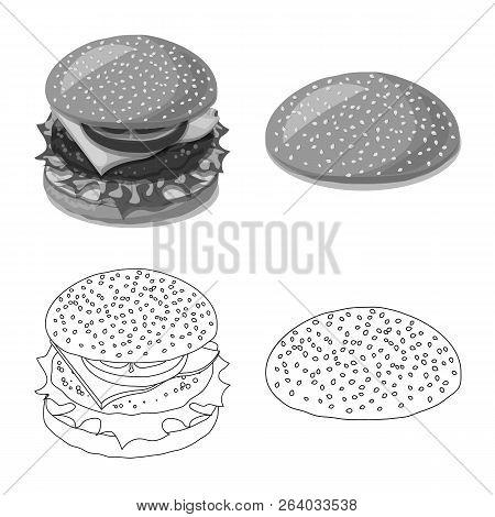 Vector Illustration Of Burger And Sandwich Symbol. Set Of Burger And Slice Stock Symbol For Web.