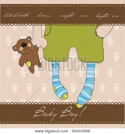 Baby Boy Ankunft Ankündigung Karte mit Plüsch Bär