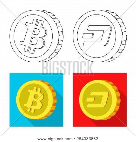Isolated Object Of Cryptocurrency And Coin Symbol. Set Of Cryptocurrency And Crypto Stock Vector Ill