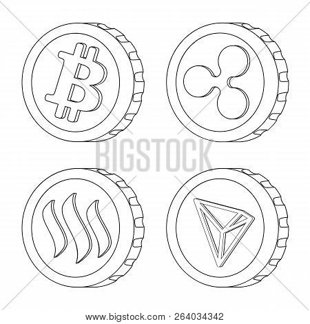 Vector Design Of Cryptocurrency And Coin Logo. Set Of Cryptocurrency And Crypto Vector Icon For Stoc