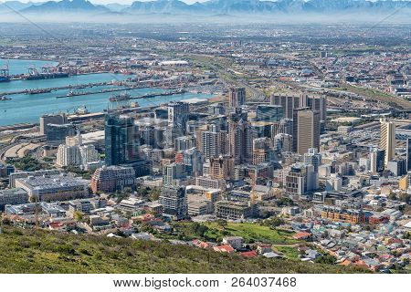 Cape Town, South Africa, August 9, 2018: An Aerial View Of The Harbor And Central Business District