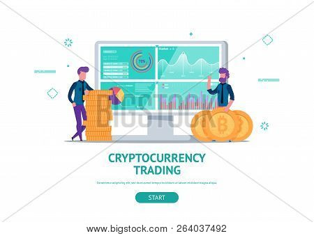 Modern Flat Illustration Concept For Cryptocurrency Trading Finance Or Business Web Page Landing Wit