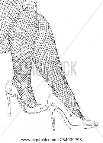 A Seductive Woman In Fishnet Stockings And High-heeled Shoes