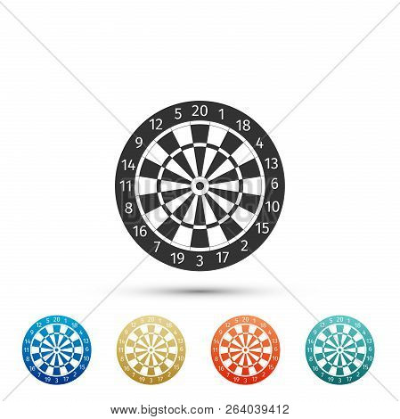 Classic Darts Board With Twenty Black And White Sectors Icon Isolated On White Background. Dart Boar