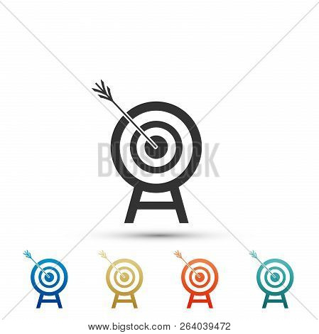 Target With Arrow Icon Isolated On White Background. Dart Board Sign. Archery Board Icon. Dartboard