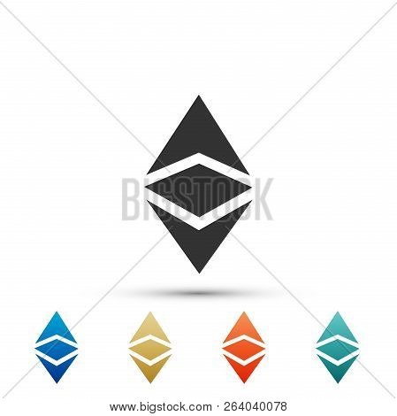Cryptocurrency Coin Ethereum Classic Etc Icon Isolated On White Background. Physical Bit Coin. Digit