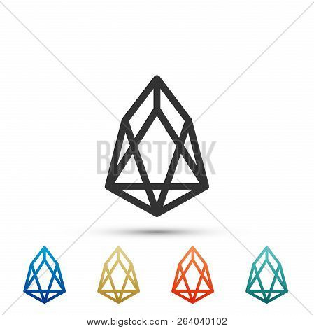 Cryptocurrency Coin Eos Icon Isolated On White Background. Physical Bit Coin. Digital Currency. Altc