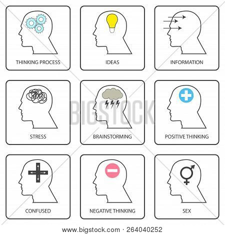 Line Art Icons Of Human Mind, Thinking Process And Thought. Pictogram Collection And Simple Vector S