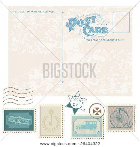 Retro Postcard and Postage Stamps - for wedding design, invitation, congratulation, scrapbook