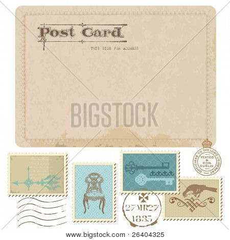 Vintage postal y sellos - para diseño de boda, invitación, felicitación, scrapbook
