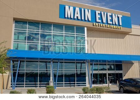 Gilbert,AZ/USA - 10.17.18: Main Event owned by Ardent Leisure Entertainment an Australian-based leisure company is the fastest-growing bowling-anchored, entertainment business in America.