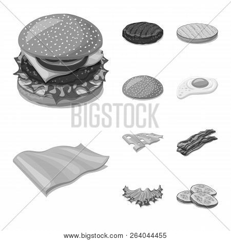 Vector Design Of Burger And Sandwich Symbol. Set Of Burger And Slice Stock Vector Illustration.
