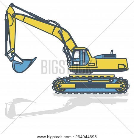 Blue Yellow Outlined Big Excavator, Digger On White. Digging Of Ground. Construction Machinery And G