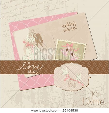 Vintage Wedding Design Elements - for Scrapbook, Invitation in vector
