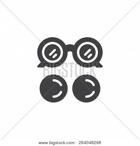 Eye Glasses And Eye Lens Vector Icon. Filled Flat Sign For Mobile Concept And Web Design. Ocular Sim
