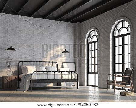Loft Bedroom 3d Render,there Are White Brick Wall,polished Concrete Floor And Black Wood Ceiling.fur
