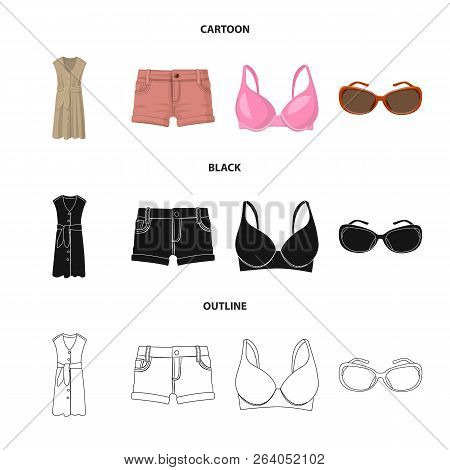 Vector Design Of Woman And Clothing Symbol. Set Of Woman And Wear Vector Icon For Stock.