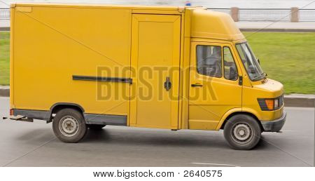 Blank Yellow Big Delivery Truck On Road Of My Trucks Series