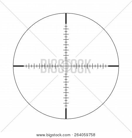 Sniper Scope, Scale. Crosshairs With Tick Marks. Icon. Vector Concept Of Target Search. Element Isol
