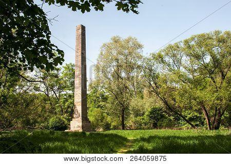 Obelisk In The Romantic Area At The Castle Built By Lichtenstein In 1820 Near Litovel, Czech Republi
