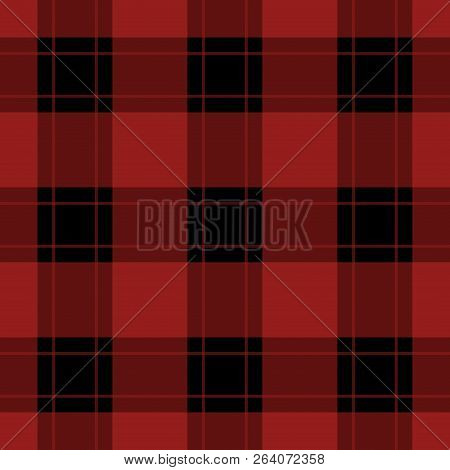 Seamless Pattern - Black, Dark And Bright Red Tartan, Tablecloth With Red Stripes