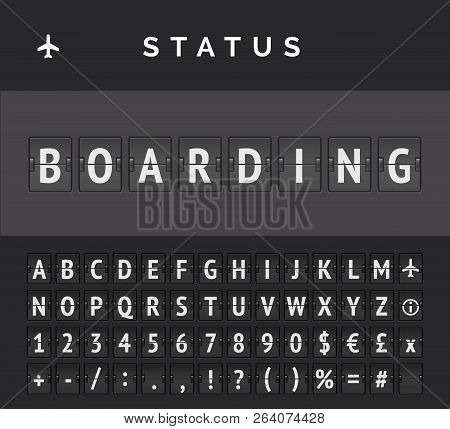 Airport Flip Board Showing Flight Departure Or Arrival Status Boarding . Vector Illustration