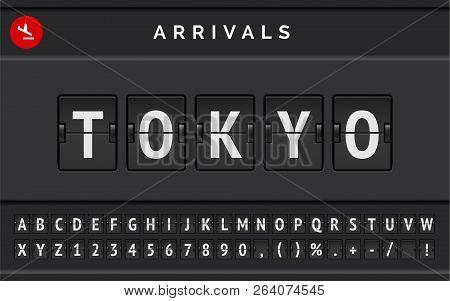 Flight Flip Board Font Displays Airport Departure Destination In Japan Tokyo . Vector Illustration