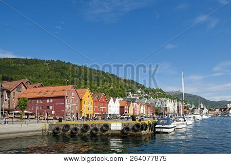 Bergen, Norway - July 15, 2018: Bryggen - The Hanseatic Commercial Buildings Included On Unesco`s Wo