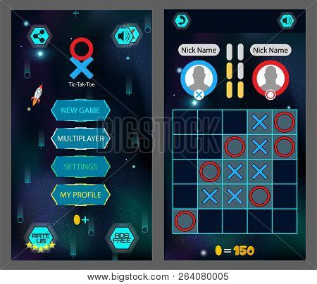 Tic Tac Toe, Game Screen. Mobile Full Game ( Main Menu And Playing Interface) Gaming Design, Xo Appl