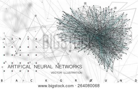 Quantum computing, deep learning artificial intelligence, signal cryptography infographic vector illustrations. Big data algorithms visualization for business, science presentations, posters, covers poster